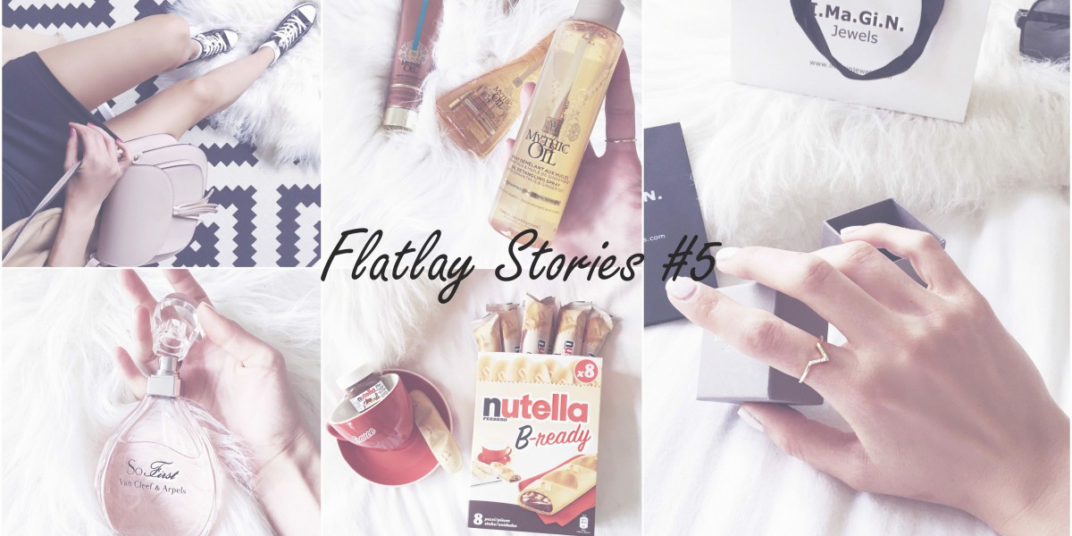 flatlay stories favourites imagin jewels mythic oil l'oreal professionnel nutella b-ready maydenn concept store so first perfume van cleef & arpels