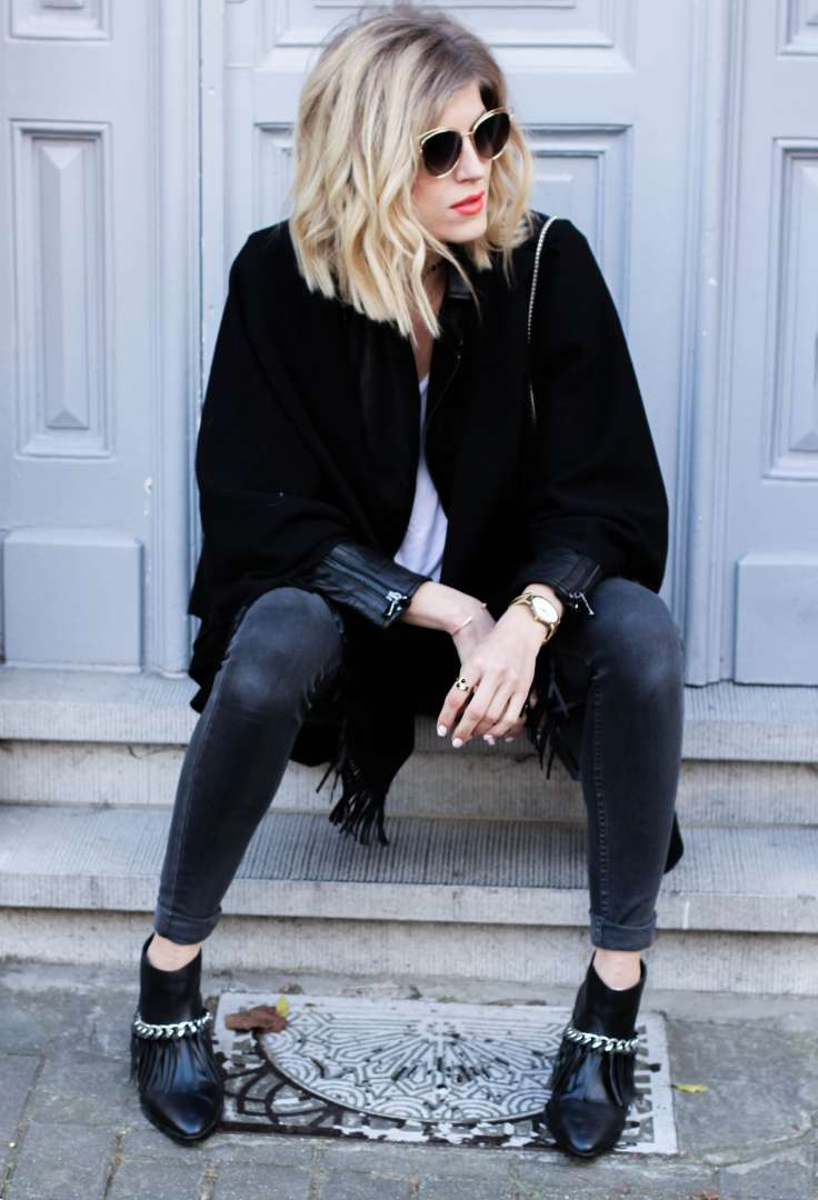 wearing cape winter sarenza senso levi's how to style made by f belgian blogger french fashion