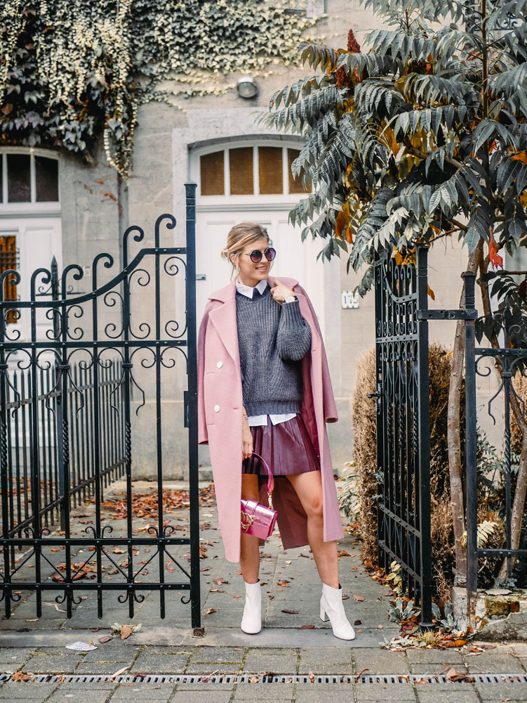 pink coat manteau rose elected about you maydenn moss copenhagen pinko j crew how to wear style pink coat