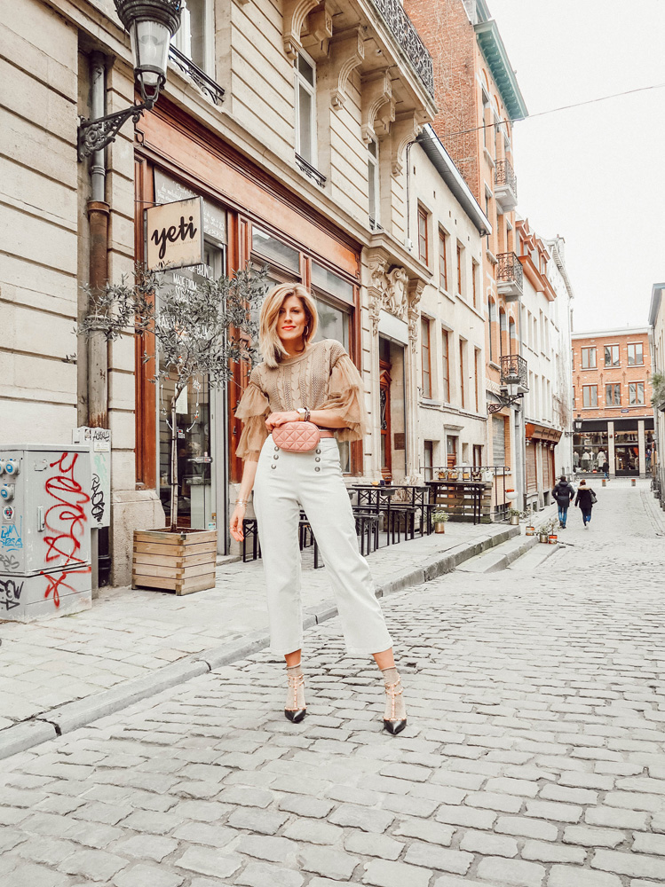 tendance printemps été 2018 mode pantalon évasé 7/8 volants fanny pack sac banane blogueuse belge française made by f. patrizia pepe 8PM stradivarius maydenn