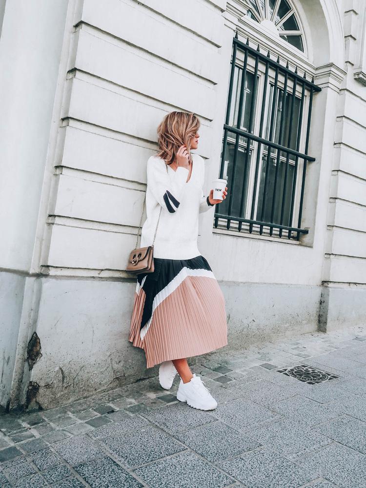 jupe plissée midi h&m & others stories tendance printemps été 2018 fila disruptor sporty chic made by f. blogueuse belge