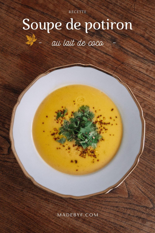 soupe recette potiron butternut lait de coco automne